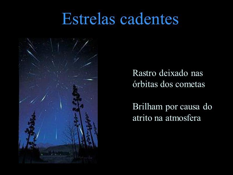 Estrelas cadentes Rastro deixado nas órbitas dos cometas