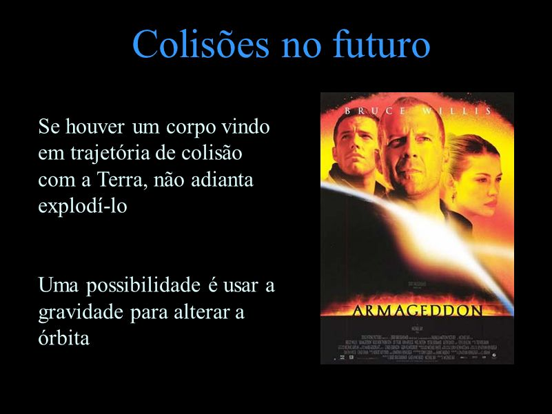 Colisões no futuro Se houver um corpo vindo em trajetória de colisão com a Terra, não adianta explodí-lo.