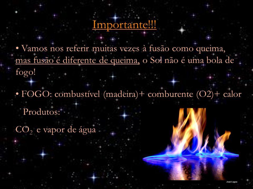 Importante!!! Vamos nos referir muitas vezes à fusão como queima, mas fusão é diferente de queima, o Sol não é uma bola de fogo!