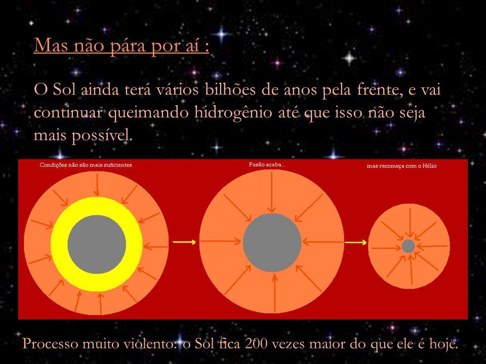 Mas não pára por aí : O Sol ainda terá vários bilhões de anos pela frente, e vai continuar queimando hidrogênio até que isso não seja mais possível.