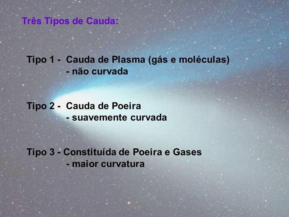 Três Tipos de Cauda: Tipo 1 - Cauda de Plasma (gás e moléculas) - não curvada. Tipo 2 - Cauda de Poeira.
