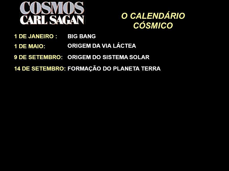 O CALENDÁRIO CÓSMICO 1 DE JANEIRO : BIG BANG 1 DE MAIO: