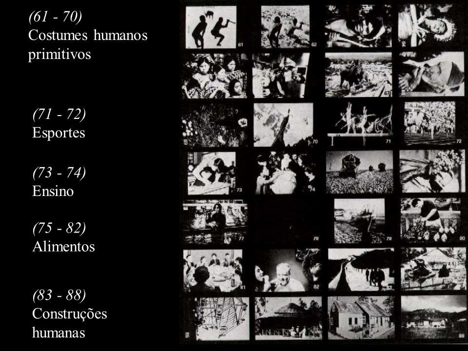 (61 - 70) Costumes humanos. primitivos. (71 - 72) Esportes. (73 - 74) Ensino. (75 - 82) Alimentos.