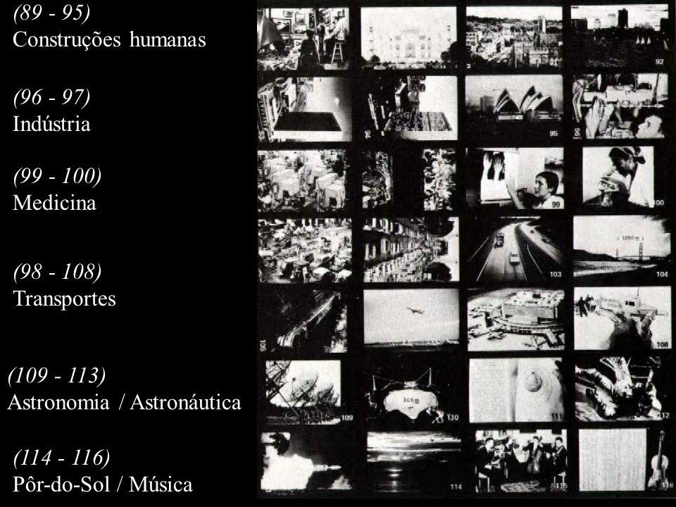 (89 - 95) Construções humanas. (96 - 97) Indústria. (99 - 100) Medicina. (98 - 108) Transportes.