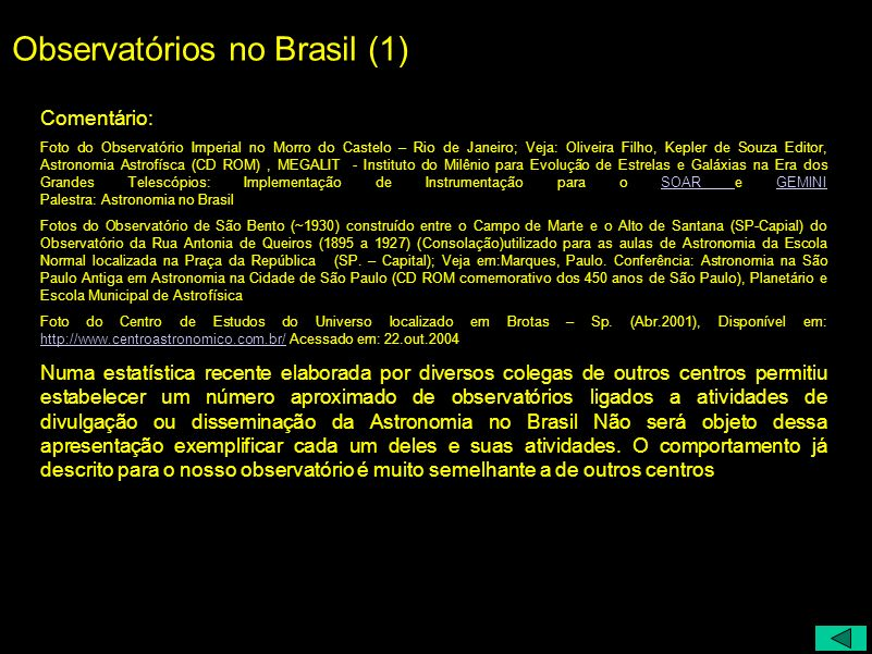 Observatórios no Brasil (1)