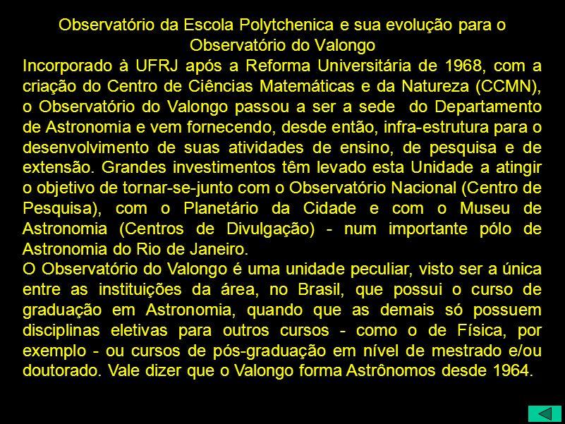 Observatório da Escola Polytchenica e sua evolução para o Observatório do Valongo