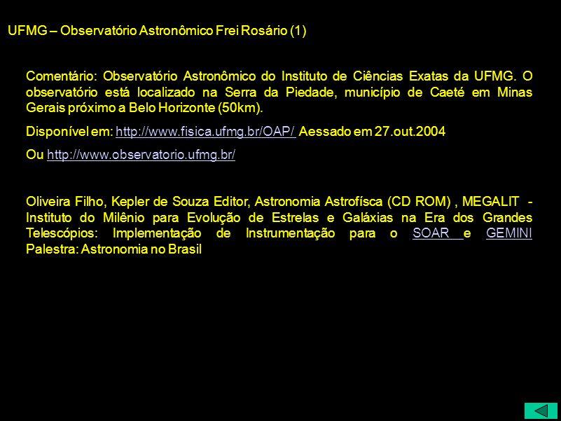 UFMG – Observatório Astronômico Frei Rosário (1)