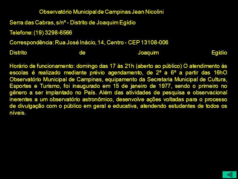 Observatório Municipal de Campinas Jean Nicolini