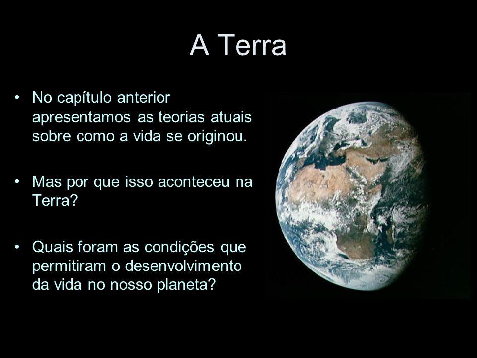 A Terra No capítulo anterior apresentamos as teorias atuais sobre como a vida se originou. Mas por que isso aconteceu na Terra