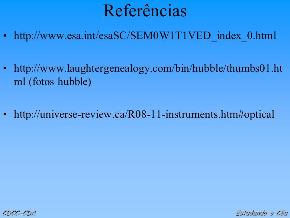 Referências http://www.esa.int/esaSC/SEM0W1T1VED_index_0.html