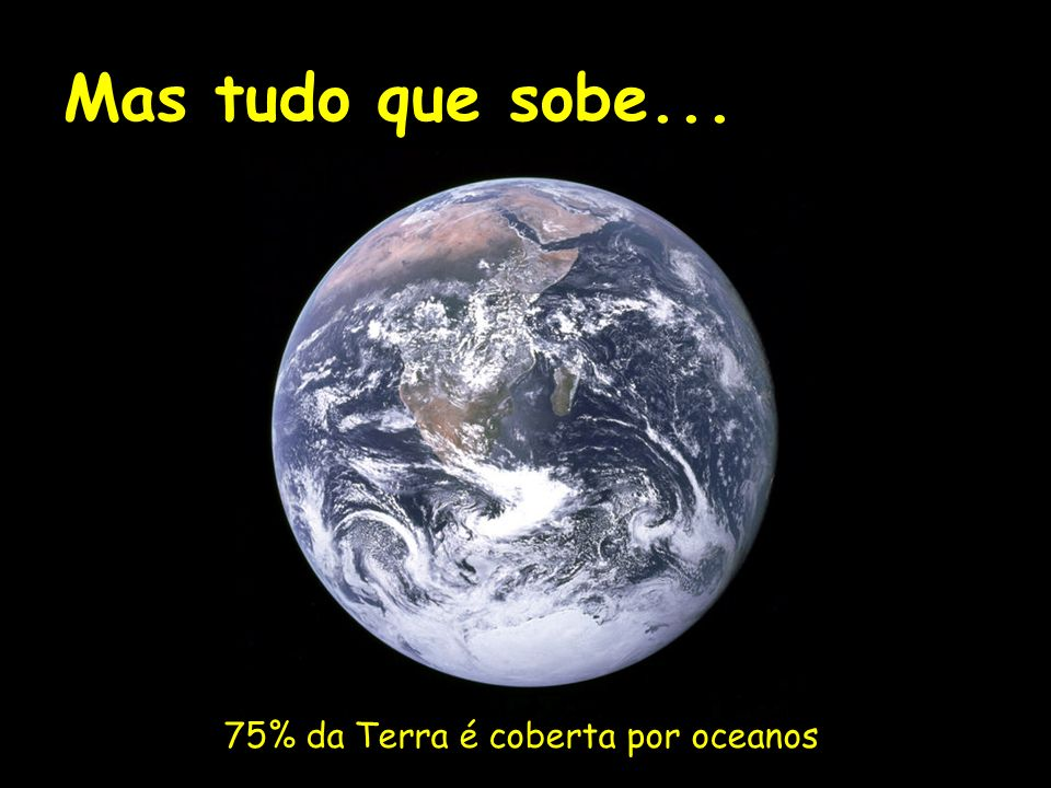 Mas tudo que sobe... 75% da Terra é coberta por oceanos