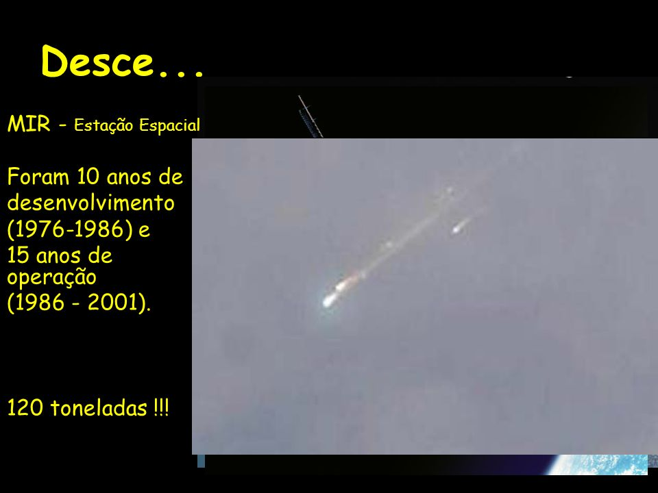 Desce... MIR - Estação Espacial Foram 10 anos de desenvolvimento