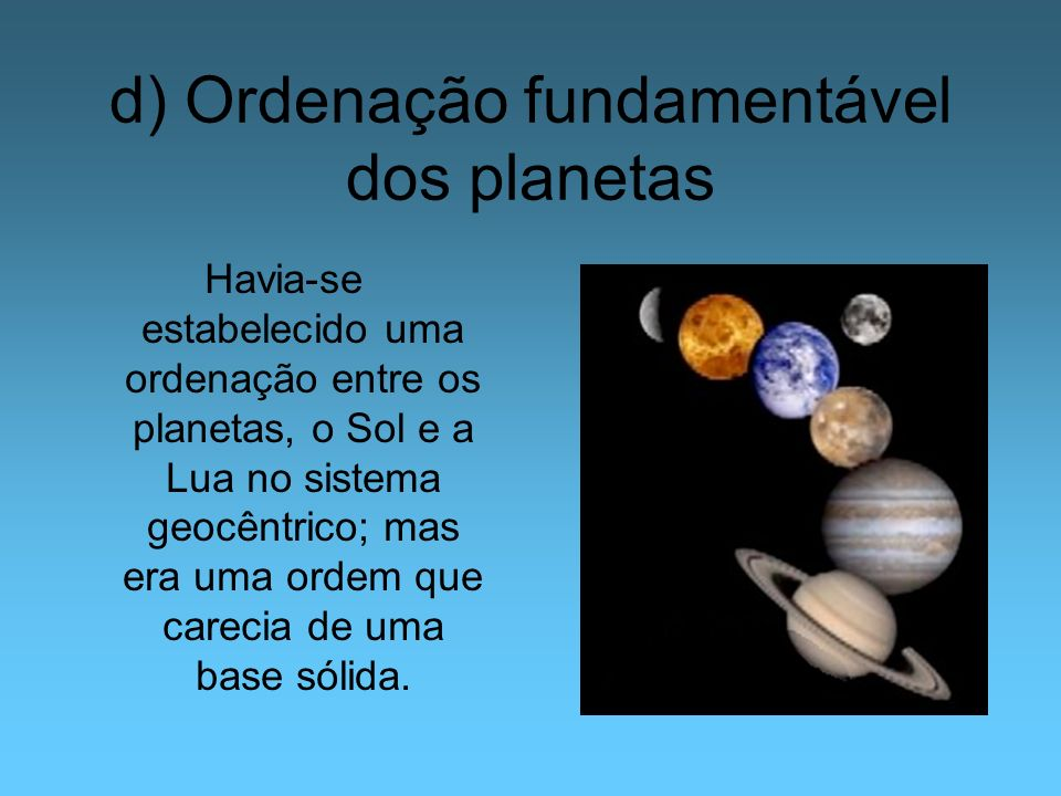 d) Ordenação fundamentável dos planetas