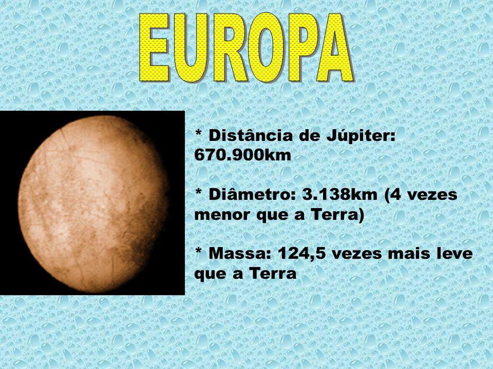 EUROPA * Distância de Júpiter: 670.900km