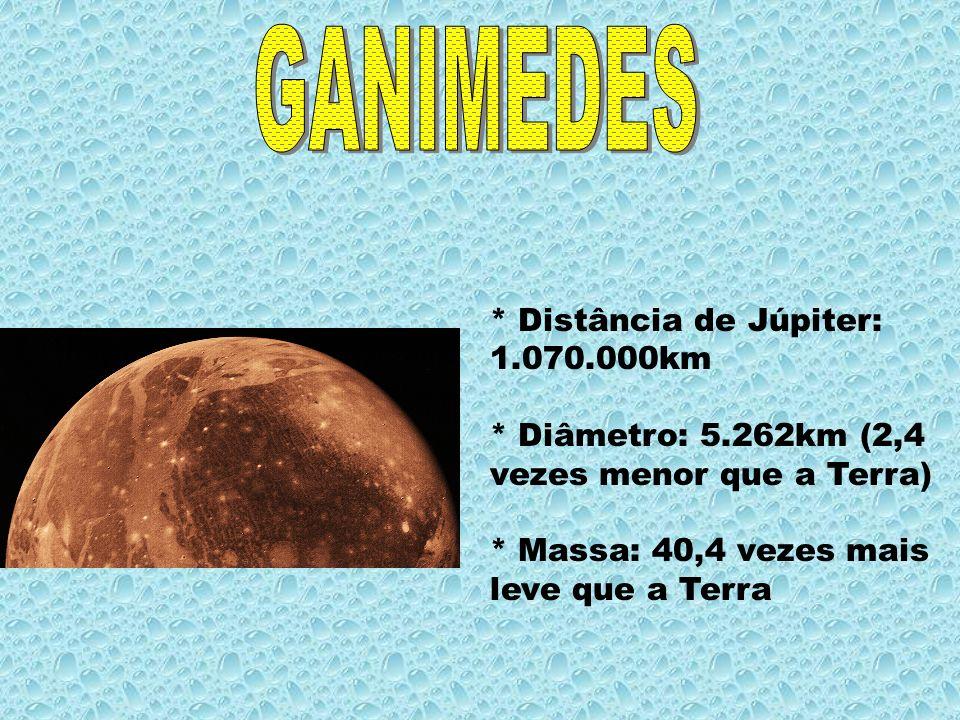 GANIMEDES * Distância de Júpiter: 1.070.000km