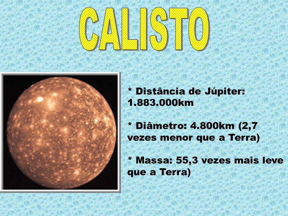 CALISTO * Distância de Júpiter: 1.883.000km