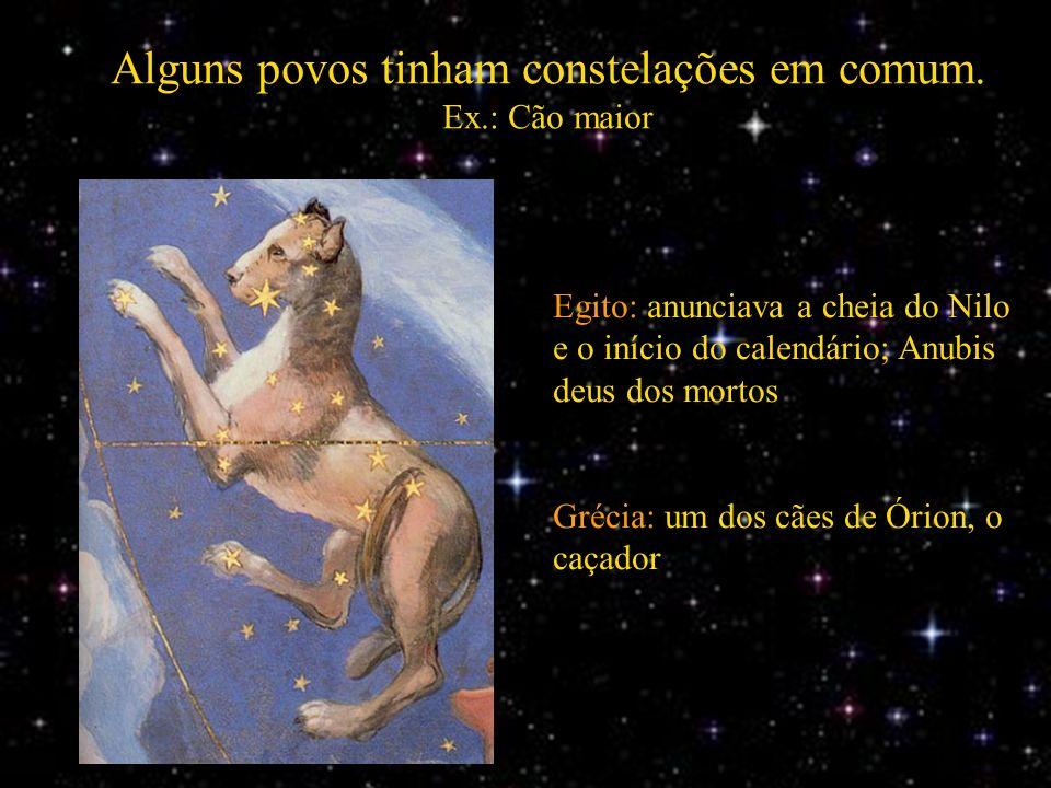 Alguns povos tinham constelações em comum. Ex.: Cão maior