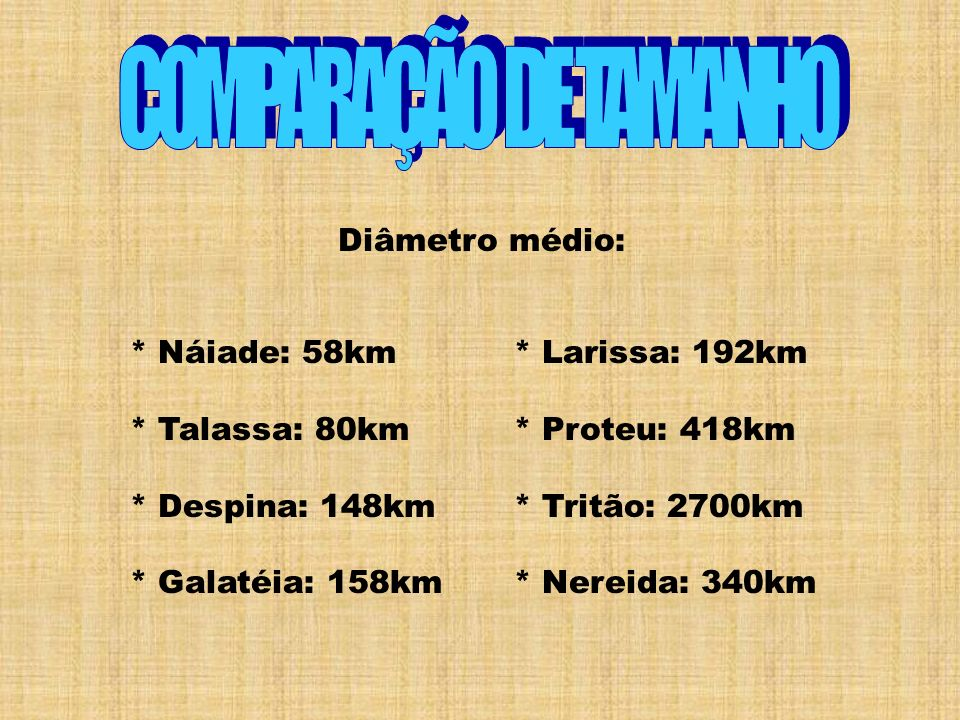 COMPARAÇÃO DE TAMANHO Diâmetro médio: * Náiade: 58km * Talassa: 80km