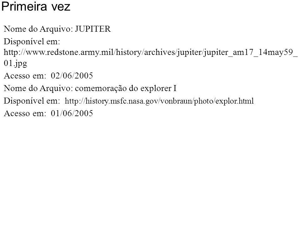Primeira vez Nome do Arquivo: JUPITER