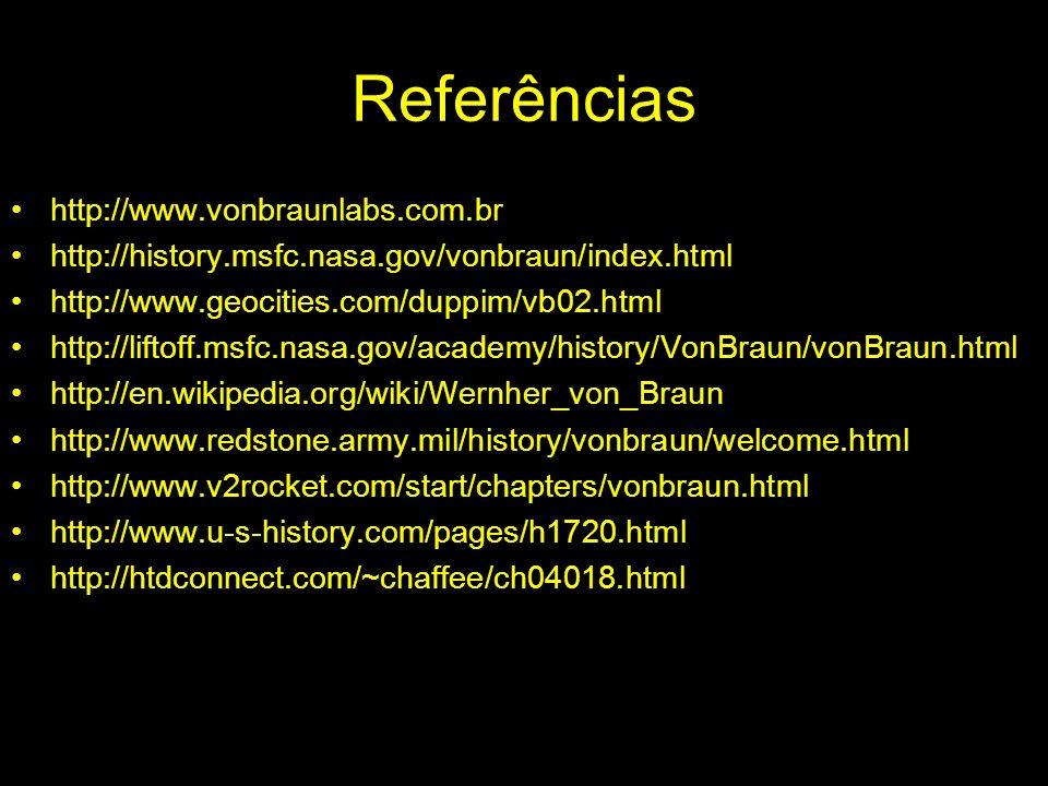 Referências http://www.vonbraunlabs.com.br