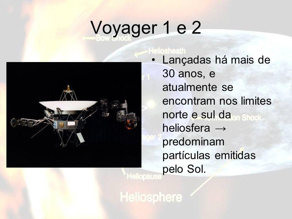 Voyager 1 e 2Lançadas há mais de 30 anos, e atualmente se encontram nos limites norte e sul da heliosfera → predominam partículas emitidas pelo Sol.