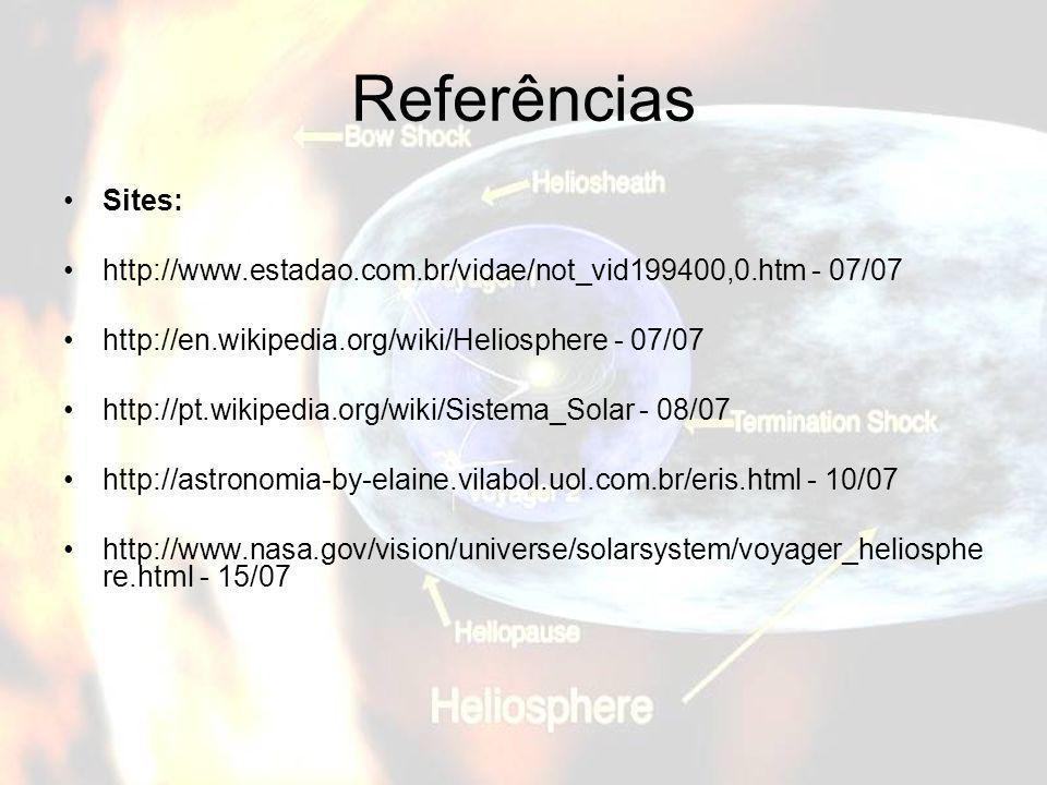 Referências Sites: http://www.estadao.com.br/vidae/not_vid199400,0.htm - 07/07. http://en.wikipedia.org/wiki/Heliosphere - 07/07.