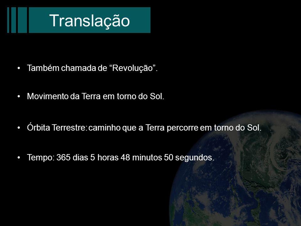 Translação Também chamada de Revolução .
