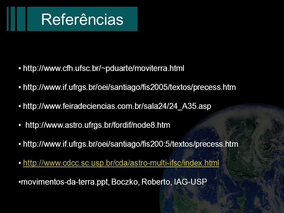 Referências http://www.cfh.ufsc.br/~pduarte/moviterra.html