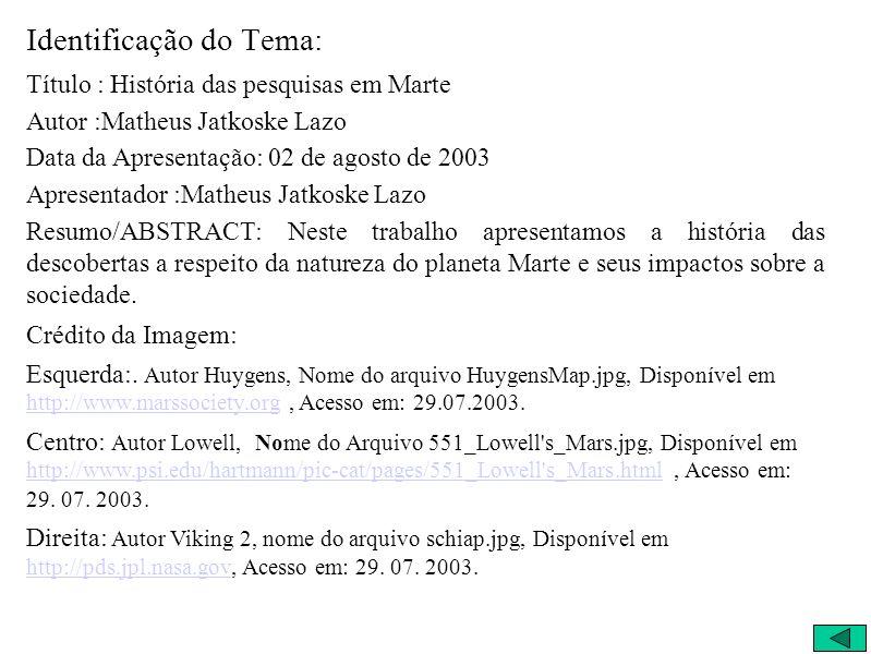 Identificação do Tema: