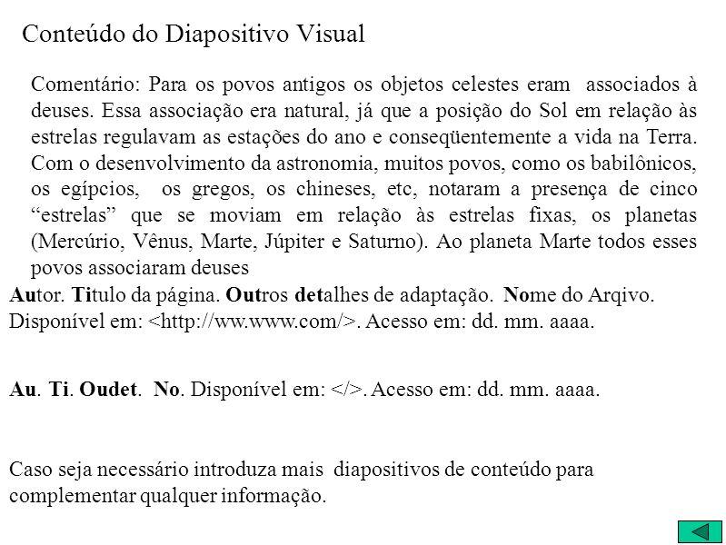 Conteúdo do Diapositivo Visual