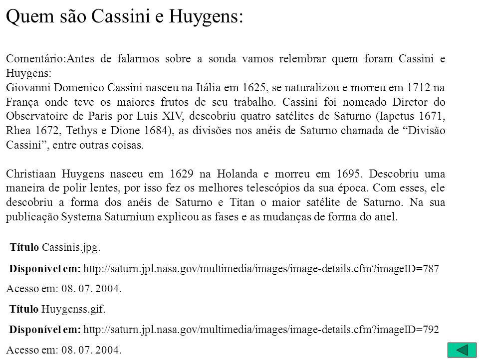 Quem são Cassini e Huygens: