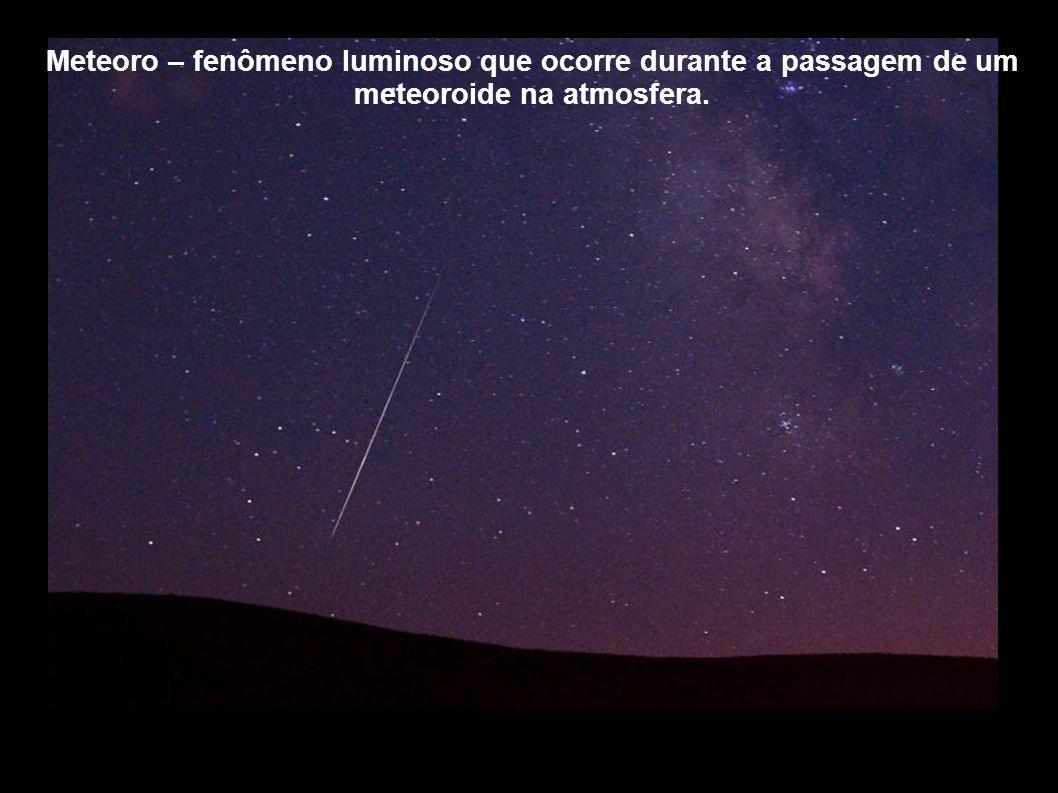 Meteoro – fenômeno luminoso que ocorre durante a passagem de um meteoroide na atmosfera.