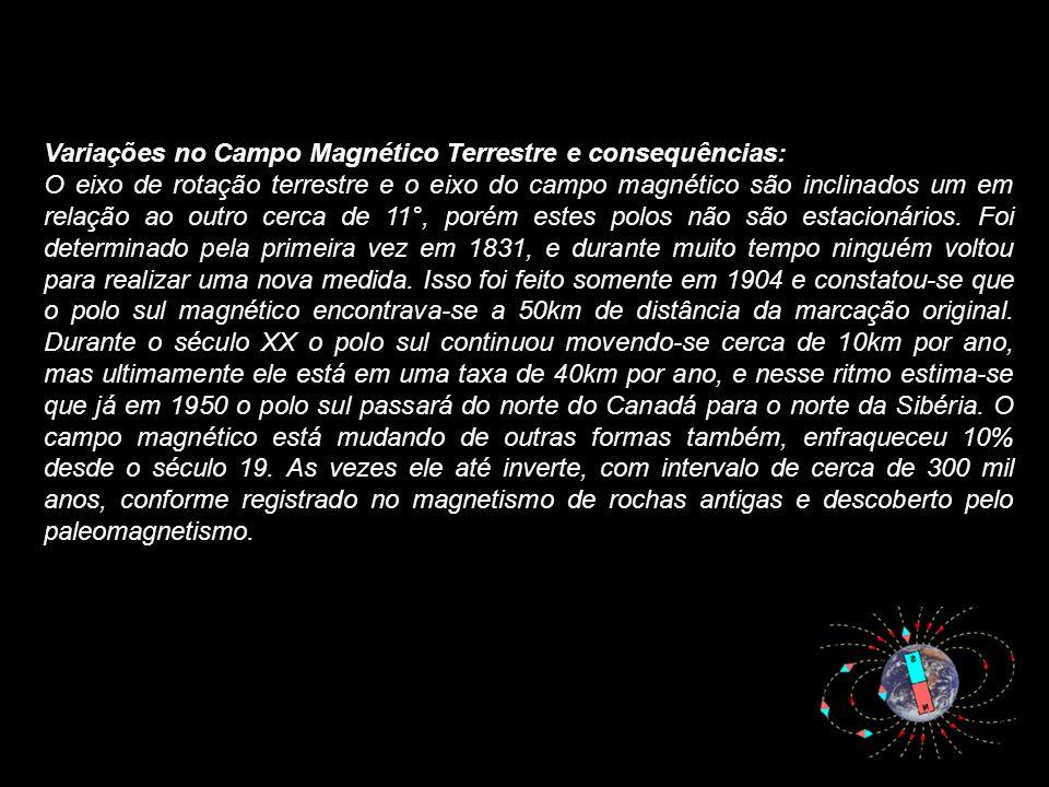 Variações no Campo Magnético Terrestre e consequências: