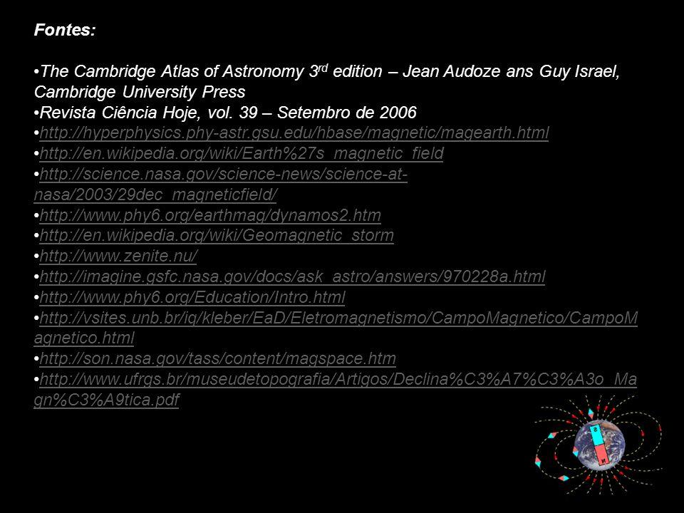 Fontes:The Cambridge Atlas of Astronomy 3rd edition – Jean Audoze ans Guy Israel, Cambridge University Press.