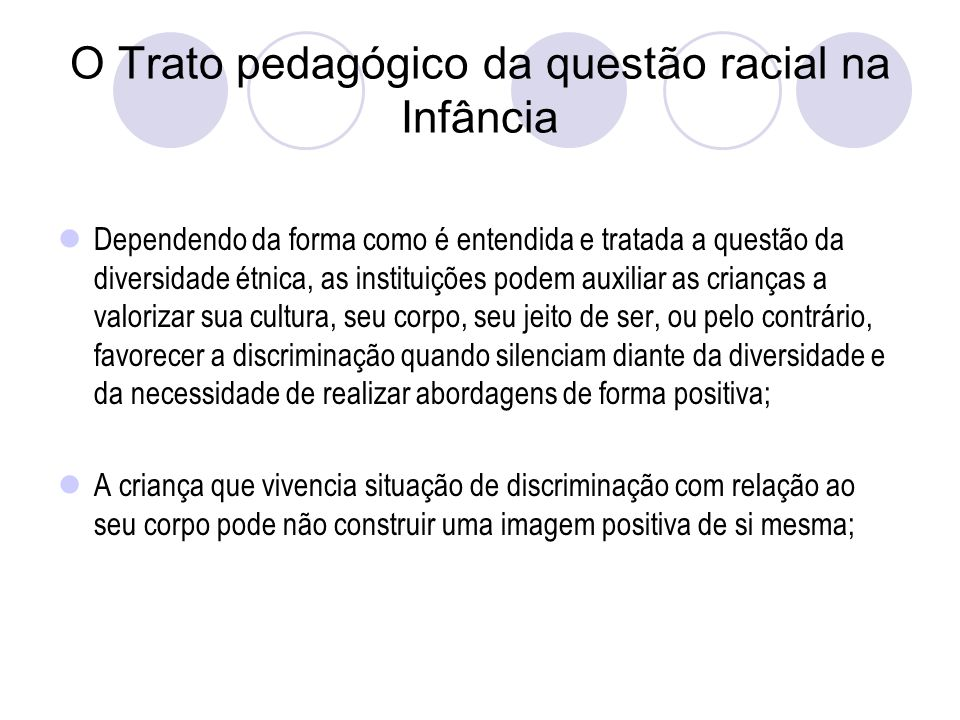 O Trato pedagógico da questão racial na Infância