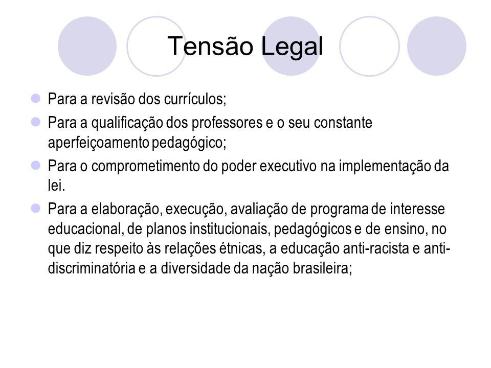 Tensão Legal Para a revisão dos currículos;