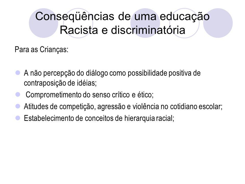 Conseqüências de uma educação Racista e discriminatória