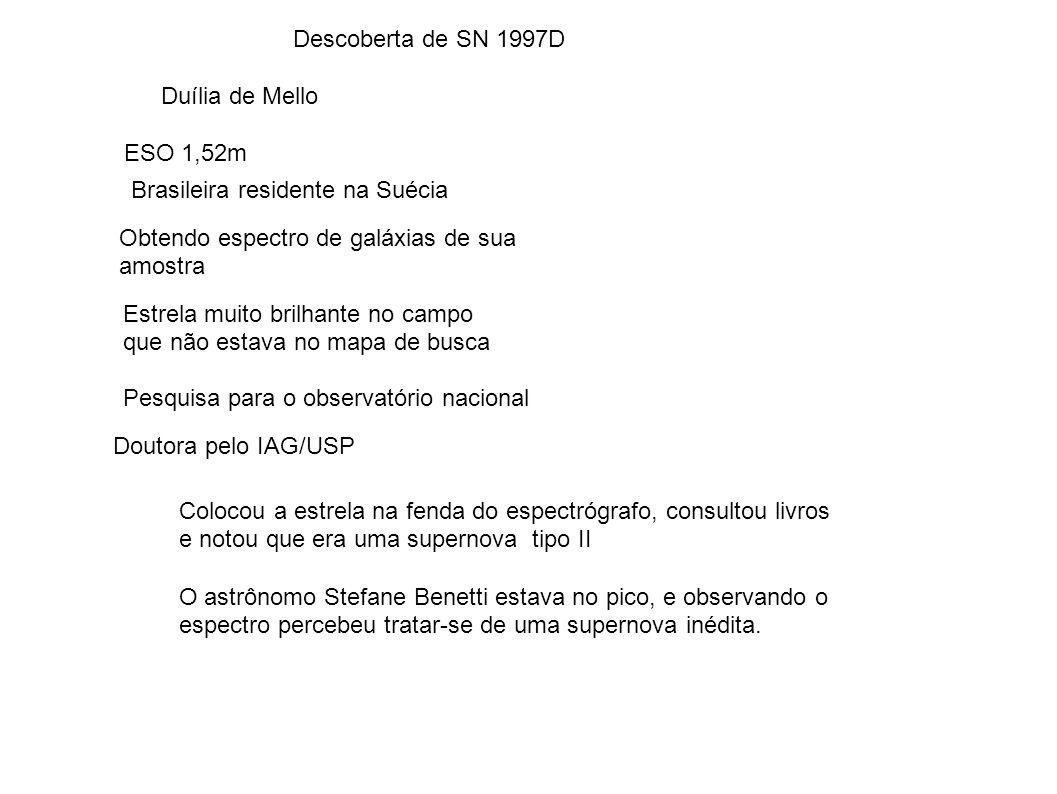 Descoberta de SN 1997D Duília de Mello. ESO 1,52m. Brasileira residente na Suécia. Obtendo espectro de galáxias de sua.