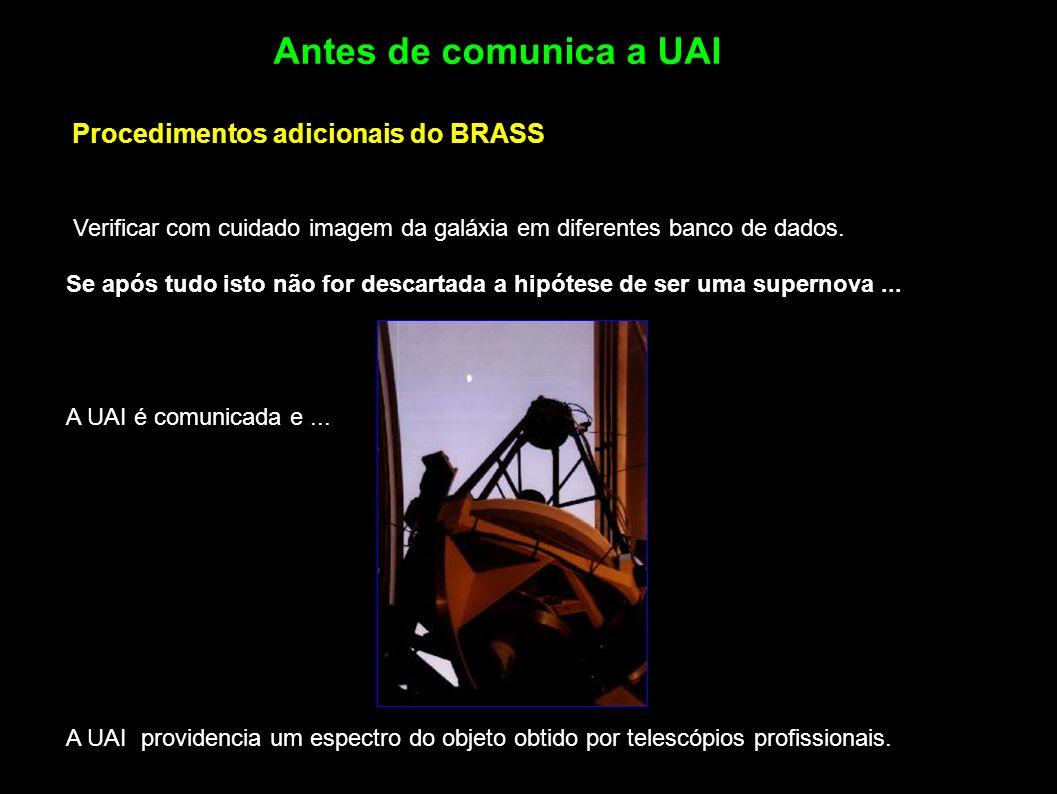 Antes de comunica a UAI Procedimentos adicionais do BRASS