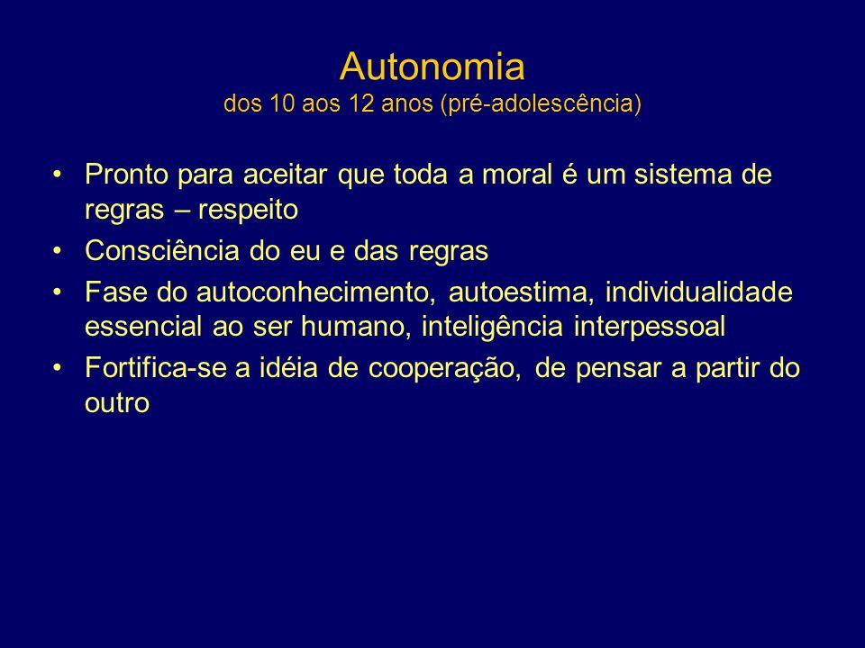 Autonomia dos 10 aos 12 anos (pré-adolescência)