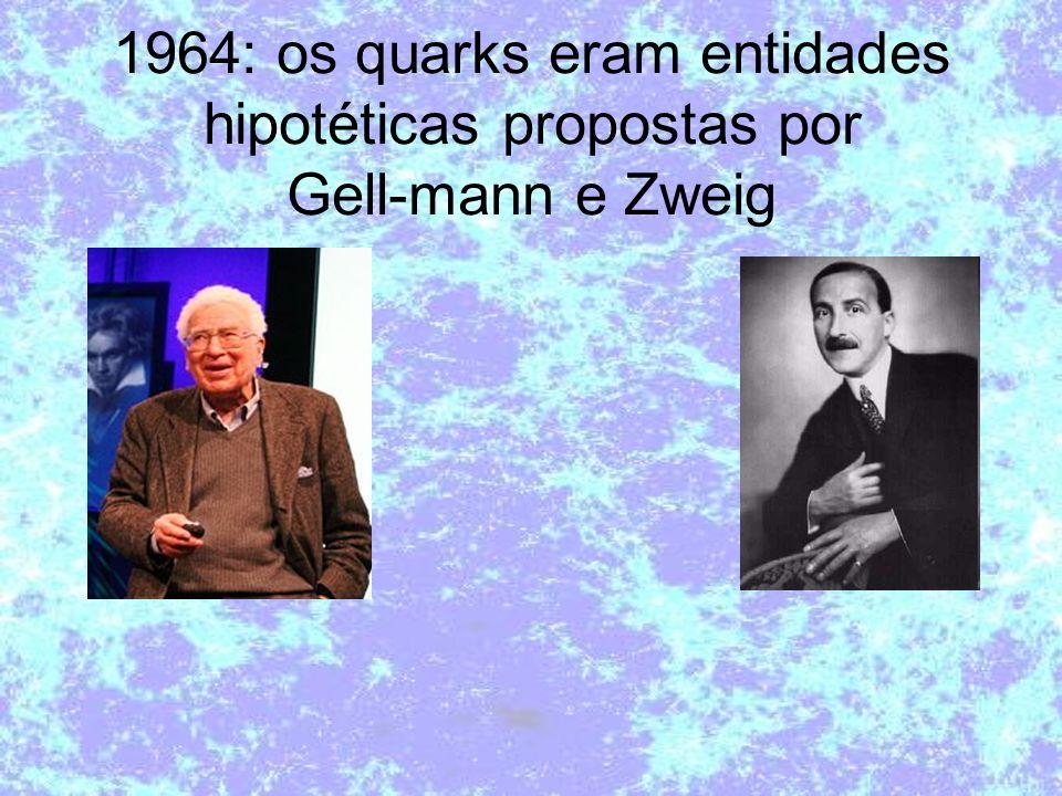 1964: os quarks eram entidades hipotéticas propostas por Gell-mann e Zweig
