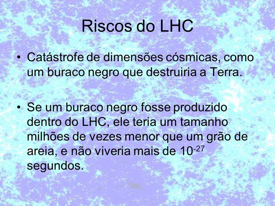 Riscos do LHC Catástrofe de dimensões cósmicas, como um buraco negro que destruiria a Terra.