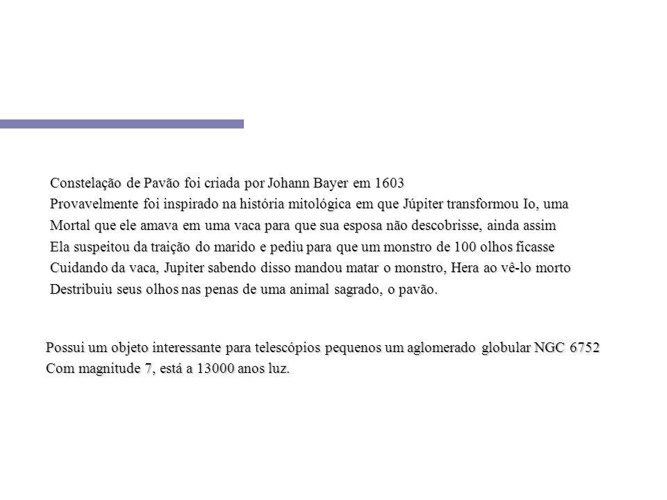 Constelação de Pavão foi criada por Johann Bayer em 1603