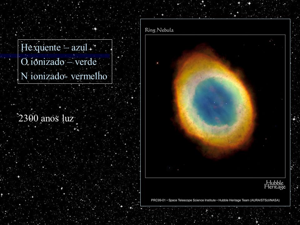 He quente – azul O ionizado – verde N ionizado- vermelho 2300 anos luz