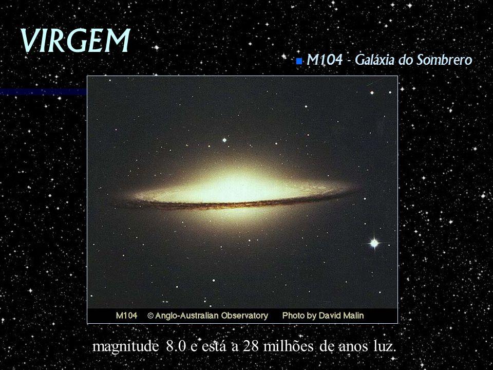 VIRGEM magnitude 8.0 e está a 28 milhões de anos luz.