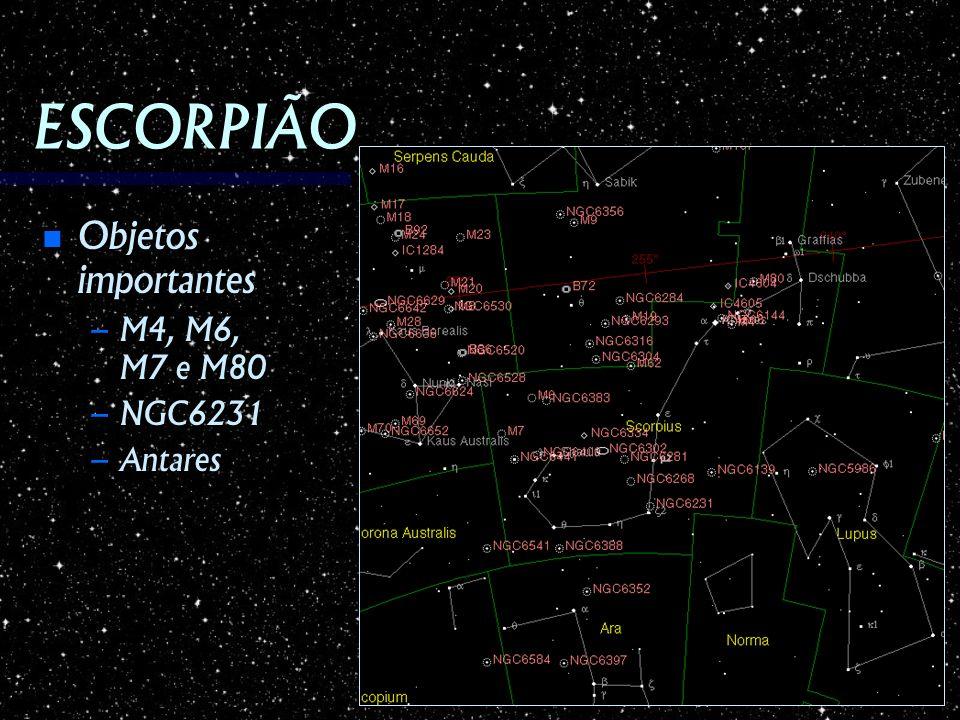 ESCORPIÃO Objetos importantes M4, M6, M7 e M80 NGC6231 Antares