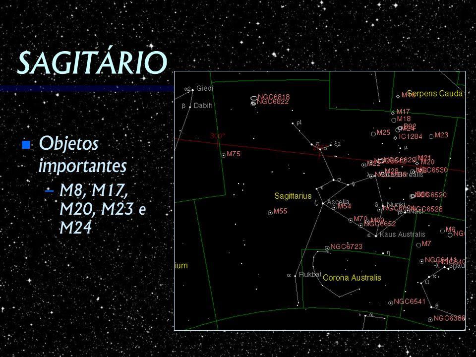 SAGITÁRIO Objetos importantes M8, M17, M20, M23 e M24