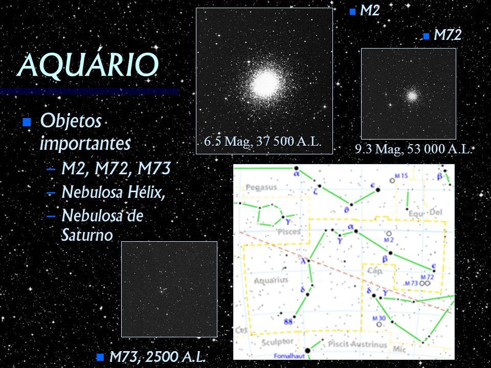 AQUÁRIO Objetos importantes M2, M72, M73 Nebulosa Hélix,