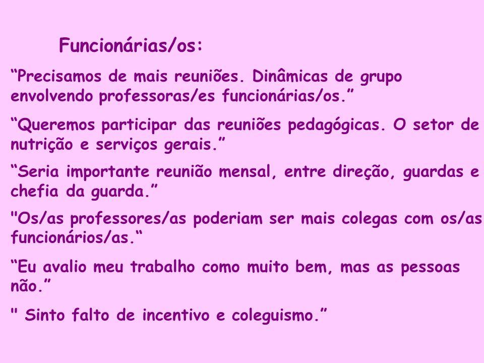 Funcionárias/os: Precisamos de mais reuniões. Dinâmicas de grupo envolvendo professoras/es funcionárias/os.
