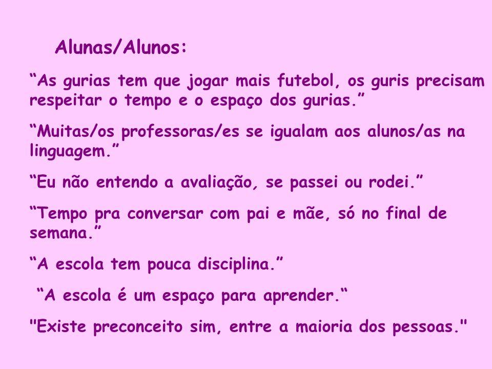 Alunas/Alunos: As gurias tem que jogar mais futebol, os guris precisam respeitar o tempo e o espaço dos gurias.